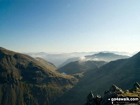 The shoulder of Great Gable (left) and Styhead Tarn from Lingmell