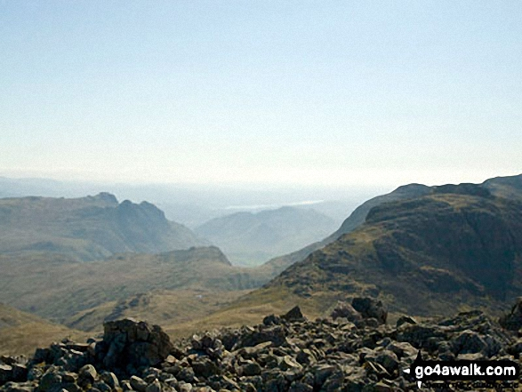 Windermere from Broad Crag. Walk route map c215 Scafell Pike from Seathwaite photo