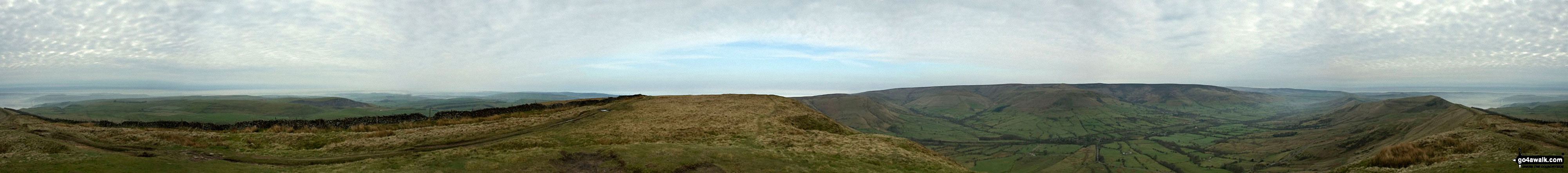 The High Peak District, Eldon Hill, Chapel-en-le-Frith, Rushup Edge, Kinder Scout, The Vale of Edale, Edale, Mam Tor, Hollins Cross, Back Tor (Hollins Cross) and Lose Hill (Ward's Piece) from Lord's Seat (Rushup Edge)