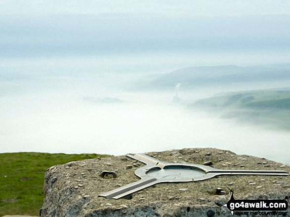 Mam Tor summit trig point. Walk route map d123 Mam Tor via Cavedale from Castleton photo