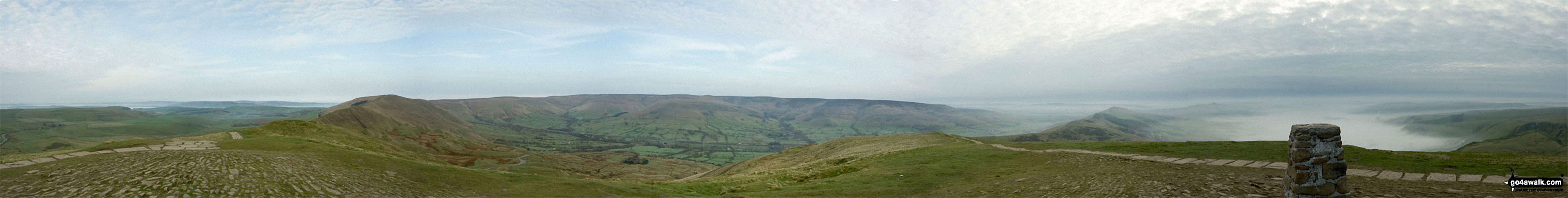 The Great Ridge - Lord's Seat (Rushup Edge), Rushup Edge, Kinder Scout, The Vale of Edale, Edale, Hollins Cross, Back Tor (Hollins Cross), Lose Hill (Ward's Piece), Hope and Castleton under the mist from Mam Tor