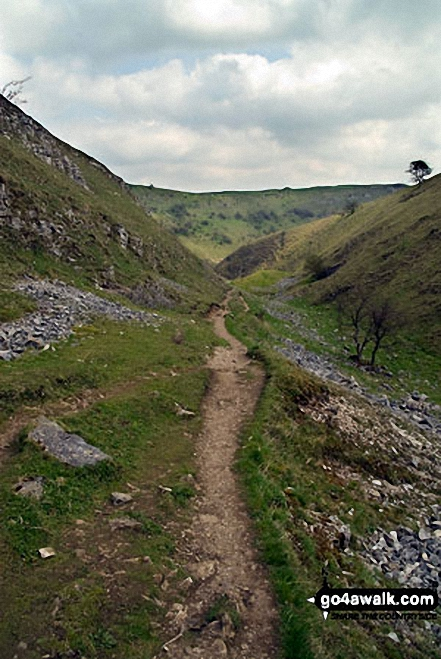 The trail through Tansley Dale. Walk route map d246 Miller's Dale and Water-cum-Jolly Dale from Tideswell photo