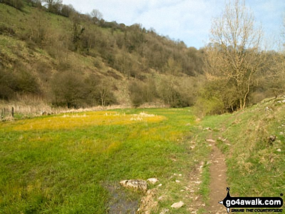Monk's Dale. Walk route map d163 Tideswell and The Monsal Trail from Peak Forest photo