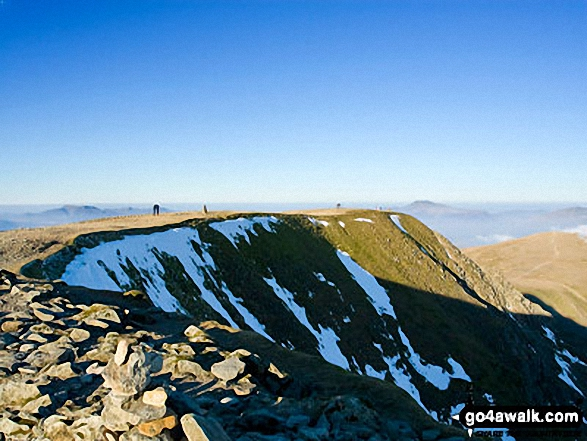 Helvellyn summit plateau. Walk route map c220 Helvellyn via Striding Edge from Glenridding photo