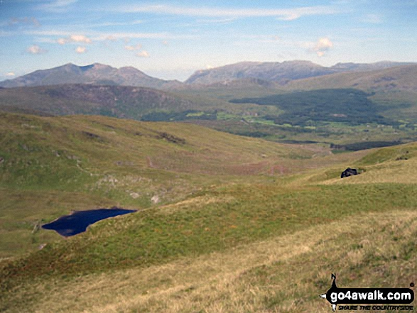 Mount Snowdon (Yr Wyddfa) & Y Lliwedd (left) and The Glyderau - Glyder Fach, Glyder Fawr & Tryfan (right) from Moel Penamnen