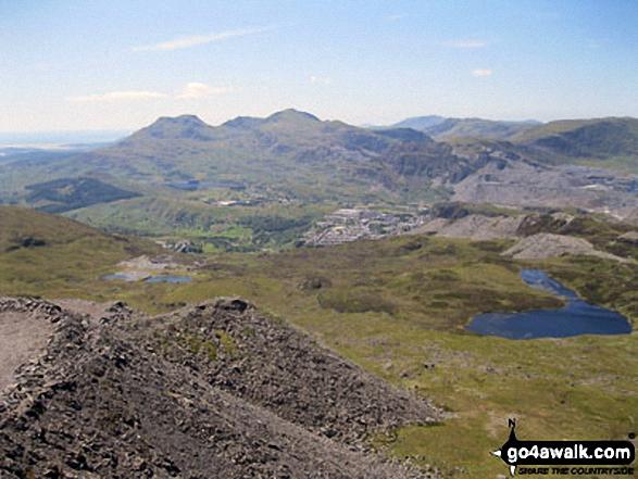 Moelwyn Bach, Craigysgafn, Moelwyn Mawr, Allt-fawr and Moel Druman from Manod Mawr (North Top) summit