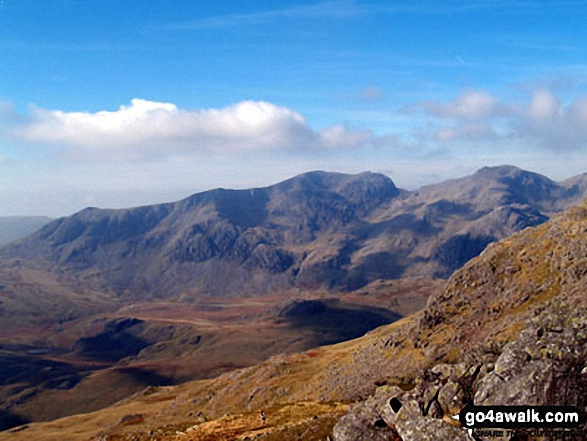 Sca Fell (centre), Mickledore and Scafell Pike (right) from Crinkle Crags