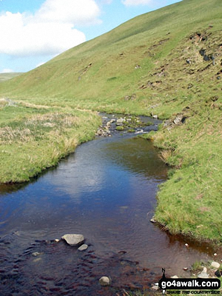 Usway Burn. Walk route map n157 Swineside Law and Windy Gyle from Wedder Leap, Barrowburn photo