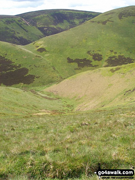 Mozie Law (left) and Windy Gyle (right) from Swineside Law. Walk route map n157 Swineside Law and Windy Gyle from Wedder Leap, Barrowburn photo