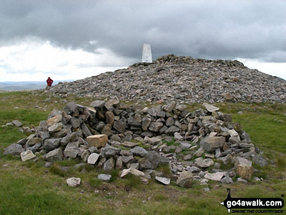 Russell's Cairn on the summit of Windy Gyle. Walk route map n157 Swineside Law and Windy Gyle from Wedder Leap, Barrowburn photo