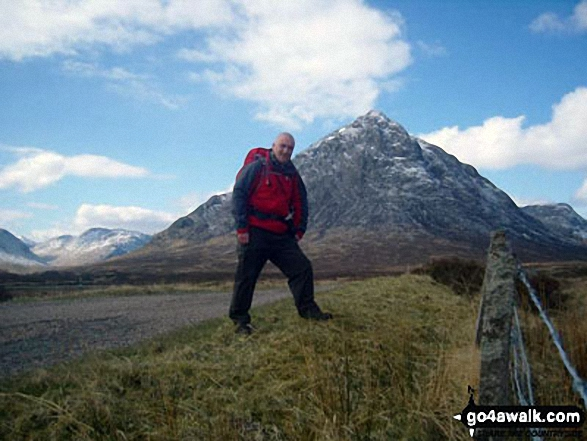 Me on the West Highland Way in The Pass of Glen Coe with Stob Coire Raineach (Buachaille Etive Beag) in the background