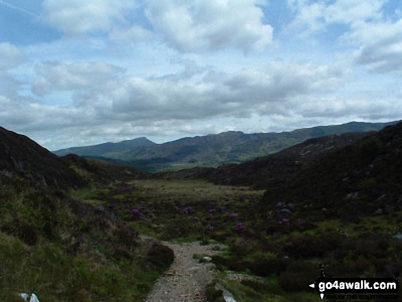 Path to Llyn Dinas. Walk route map gw144 Grib Ddu and Beddgelert from Nantmoor photo