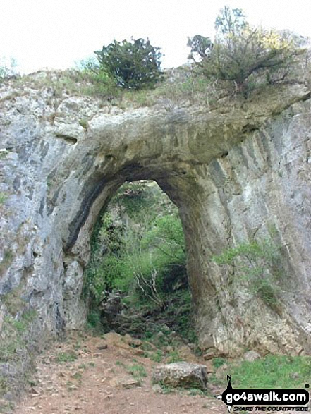 Stone Arch near Reynard's Cave, Dove Dale. Walk route map s111 Dove Dale and Ilam from Milldale photo