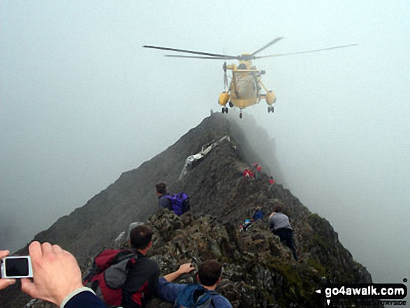 Helicopter rescue on Crib Goch. Walk route map gw198 The Welsh 3000's (Snowdon Area) from Pen y Pass photo