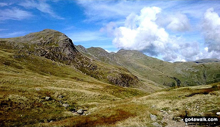 Great Knott, Crinkle Crags (South Top), Crinkle Crags (Long Top), Shelter Crags and Bow Fell from Browney Gill