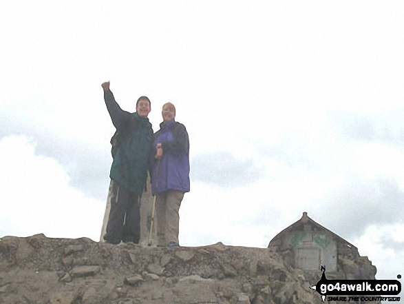 My wife Rosemary and son Simon on Ben Nevis. Walk route map h154 Ben Nevis and Carn Mor Dearg from The Nevis Range Mountain Gondola photo