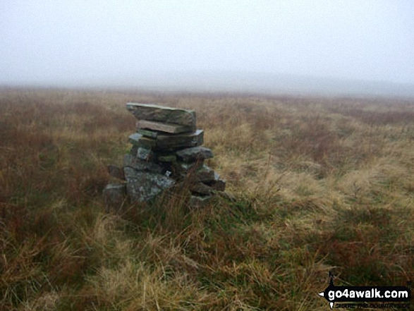 Round Hill (Tyne Head) summit cairn. Walk route map c415 Ashgill Force and Round Hill (Tyne Head) from Garrigill photo