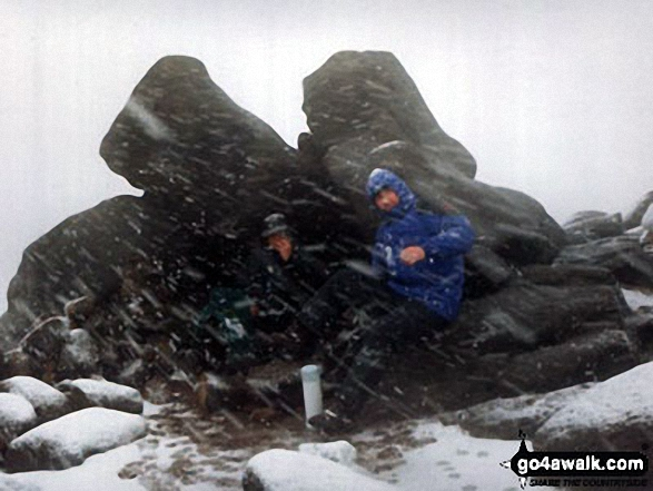Me, Bradders and my nephew David during a snow blizzard on Bleaklow Head (Bleaklow Hill)