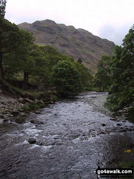 The River Derwent, Borrowdale. Walk route map c135 Castle Crag and Rosthwaite from Seatoller, Borrowdale photo