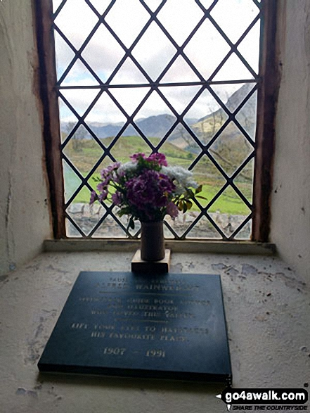 Plaque dedicated to Alfred Wainwright in Buttermere Church, Buttermere