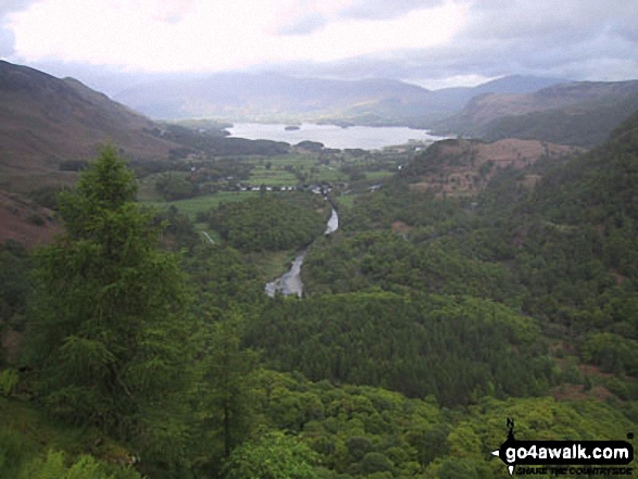 Derwent Water and Borrowdale from Castle Crag. Walk route map c135 Castle Crag and Rosthwaite from Seatoller, Borrowdale photo