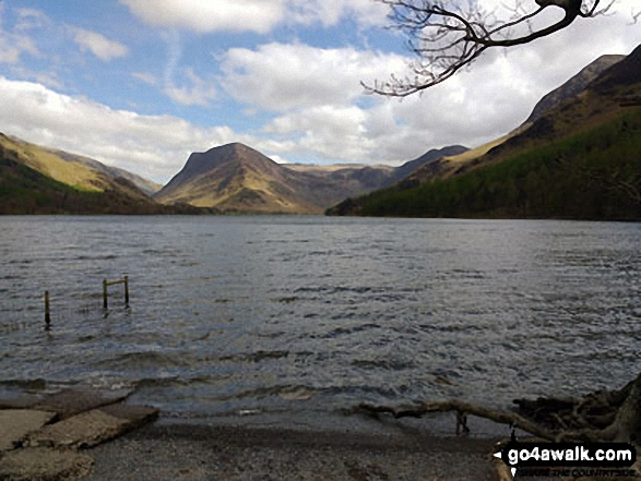 Honister Pass (left), Fleetwith Pike, Hay Stacks (Haystacks) and High Crag (Buttermere) across Buttermere. Walk route map c228 Hay Stacks from Buttermere photo