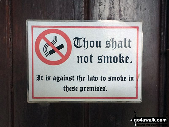 No smoking sign on the door of Buttermere Church, Buttermere