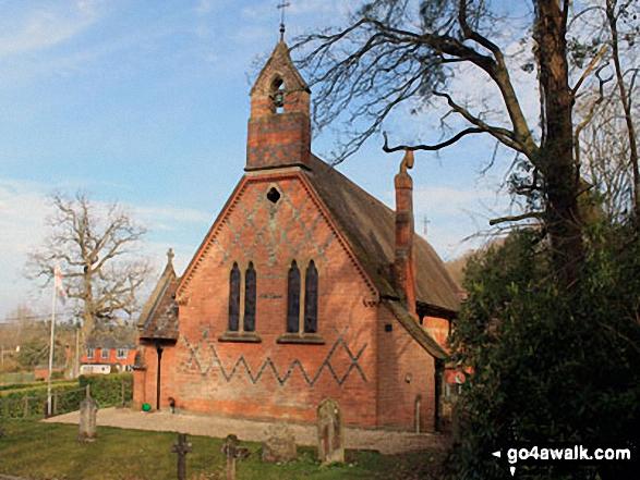 Walk ha109 Lyndhurst Hill and Swan Green from Lyndhurst - Emery Down Church