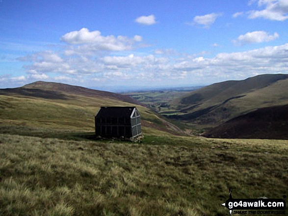 Walk c200 Carrock Fell, High Pike (Caldbeck) and Great Calva from Mosedale - Lingy Hut (Bothy) with Mosedale beyond