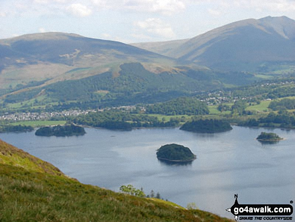 Derwent Water from Cat Bells (Catbells) with Latrigg (left) and Blencathra or Saddleback (right) beyond. Walk route map c399 Cat Bells and Derwent Water from Keswick photo