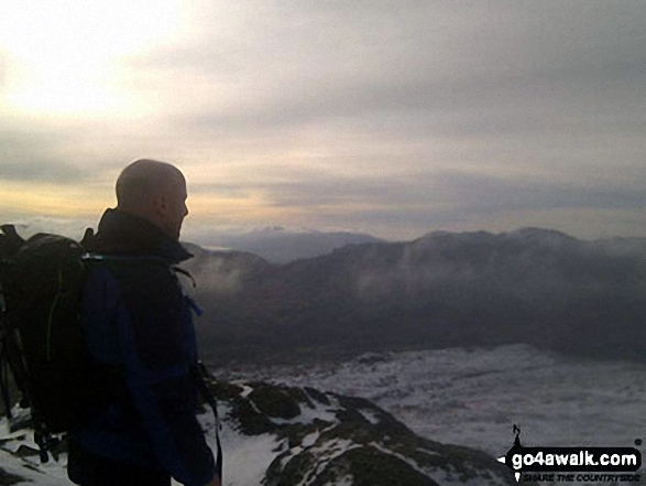 Me at the top of Carnedd Moel Siabod. Walk route map cw108 Carnedd Moel Siabod from Plas y Brenin, Capel Curig photo