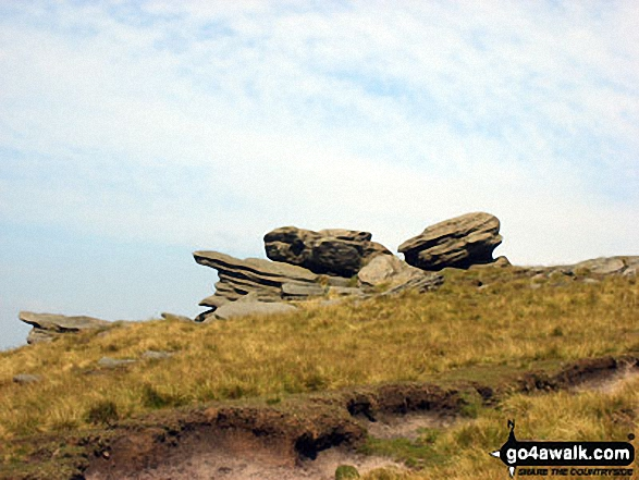 Rock formations in Kinder Scout. Walk route map d296 Jacob's Ladder and Kinder Scout from Edale photo