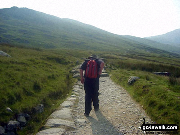 Climbing Snowdon. Walk route map gw105 Snowdon via The Watkin Path from Nantgwynant photo
