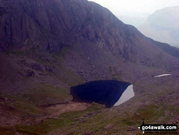 Pool above Glaslyn, Snowdon. Walk route map gw186 Snowdon and Moel Cynghorion from Llanberis photo