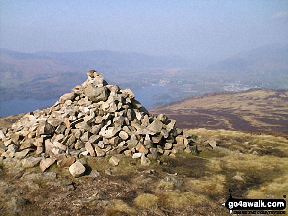 Derwent Water, Keswick, and Walla Crag from Bleaberry Fell summit cairn