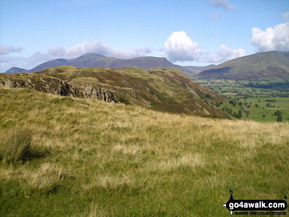 Looking North along the High Rigg Ridge to Skiddaw (left) and Blencathra or Saddleback (Hallsfell Top) (right)