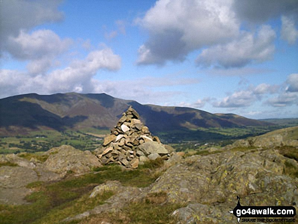 High Rigg summit cairn - with Blencathra or Saddleback (Hallsfell Top) beyond