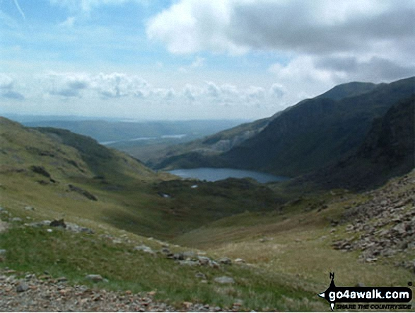 Walk c167 Wetherlam and Swirl How from Low Tilberthwaite - Levers Water and The Old Man of Coniston from Swirl Hawse