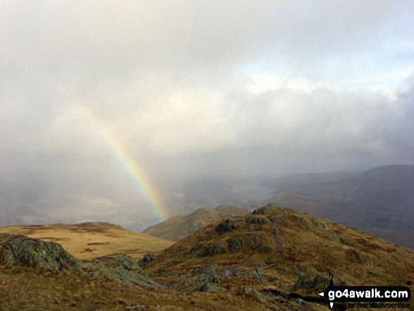Walk c304 Beda Head and Place Fell from Howtown - Rainbow over Ullswater from the summit of Place Fell