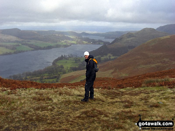 Jenny Smith on the descent from Place Fell to Sandwick with Ullswater in the background. Walk route map c304 Beda Head and Place Fell from Howtown photo