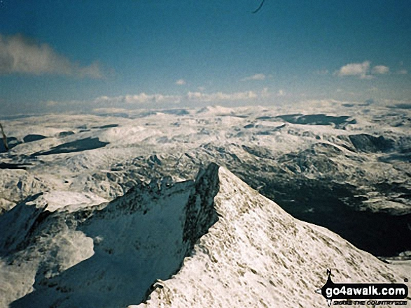 Snow on Y Lliwedd from the summit of Snowdon