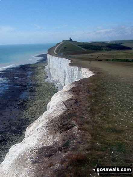 The chalk cliffs and Belle Tout Lighthouse from Beachy Head