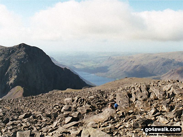 Scafell (left) and Wast Water (centre) from Scafell Pike. Walk route map c370 Scafell Pike from Seathwaite photo