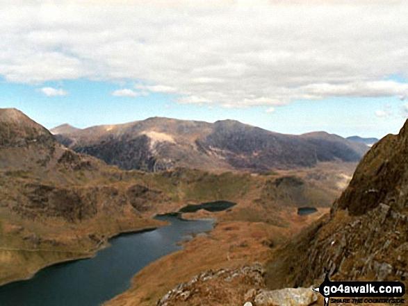 Llyn Llydaw from Snowdon (Yr Wyddfa). Walk route map gw158 Snowdon, Moel Cynghorion, Foel Gron and Moel Eilio from Llanberis photo