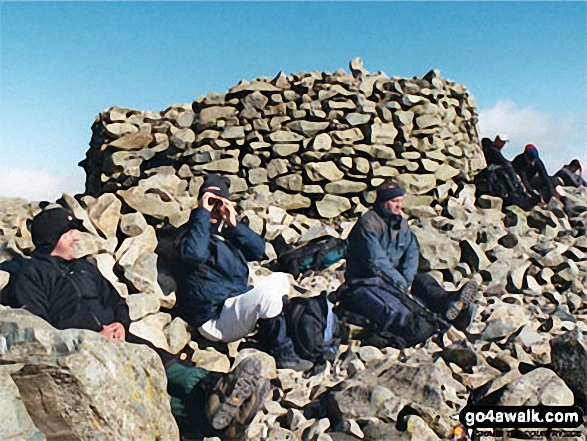 The Summit of Scafell Pike. Walk route map c416 Scafell Pike from The Old Dungeon Ghyll, Great Langdale photo