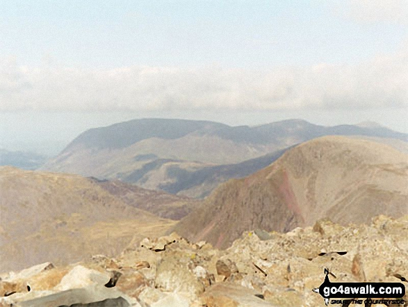 Great Gable (right) and The Buttermere Fells (centre) from Scafell Pike. Walk route map c111 Scafell Pike from Wasdale Head, Wast Water photo