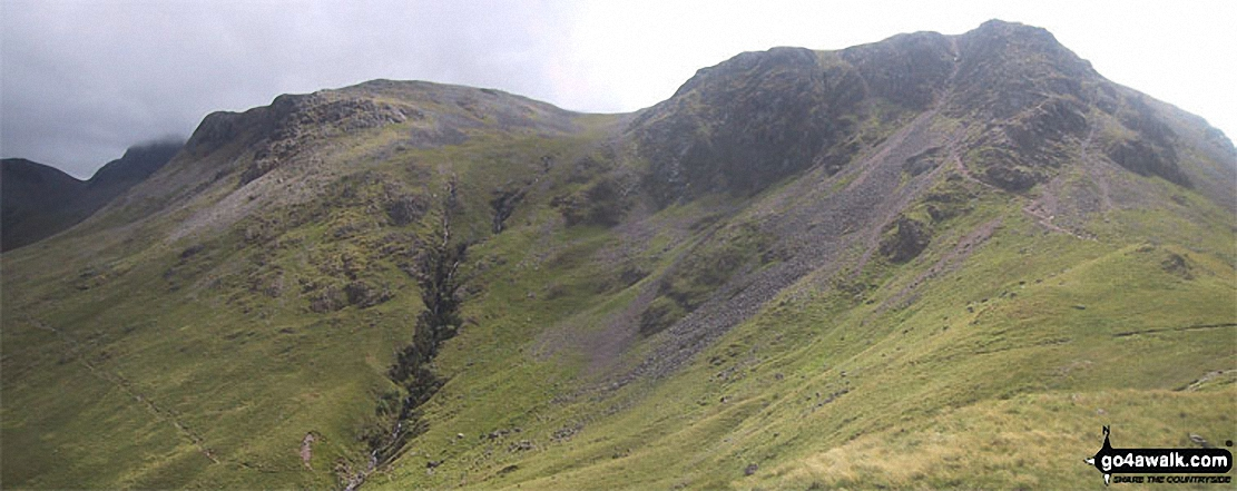 Walk c240 Kirk Fell, Pillar and Little Scoat Fell from Wasdale Head, Wast Water - Kirk Fell (East Top) (left) and Kirk Fell from Black Sail Pass