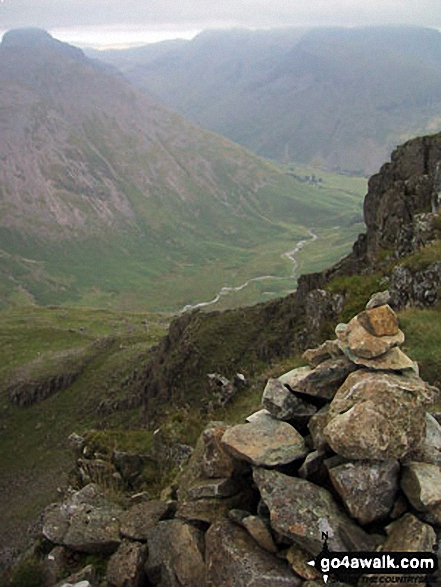 Walk c240 Kirk Fell, Pillar and Little Scoat Fell from Wasdale Head, Wast Water - Mosedale (Wasdale) from Red Pike (Wasdale) summit cairn