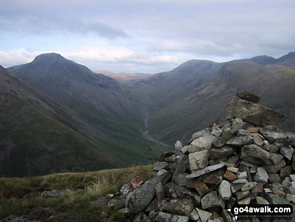 Great Gable and Lingmell from Yewbarrow (North Top) summit. Walk route map c101 Pillar and Little Scoat Fell from Wasdale Head, Wast Water photo