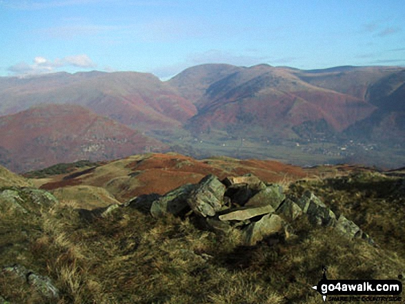 Walk c105 Lang How and Silver How from Grasmere - Dunmail Raise and Grasmere Village in the valley with Helvellyn (left), Fairfield (centre) and Seat Scandal, Great Rigg and Heron Pike beyond from Lang How